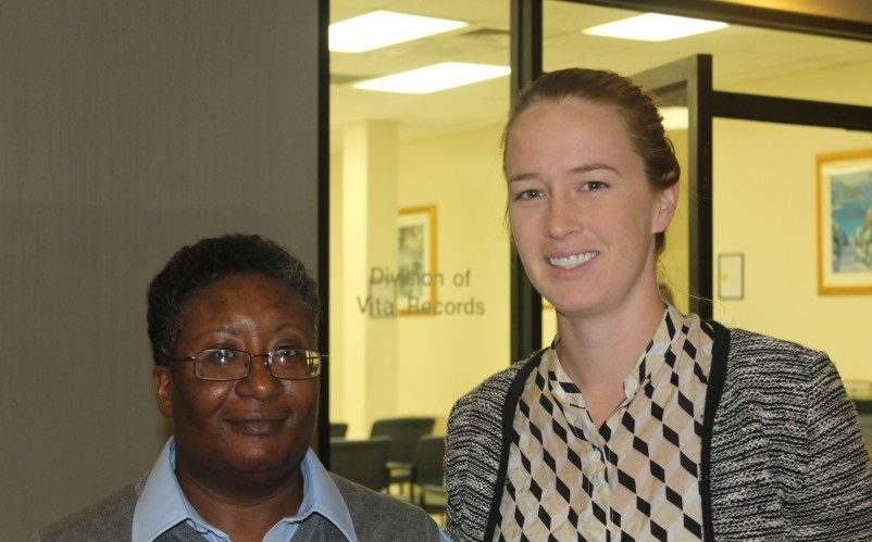 FreeState Legal client Ken Jiretsu (left) with FreeState Legal Staff Attorney Rebecca Earlbeck at the Maryland Division of Vital Records in Baltimore on October 1, 2015.